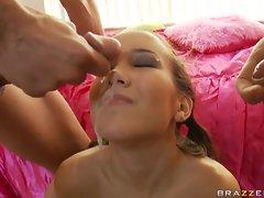 Cum falls from the face of slut of Amai Liu