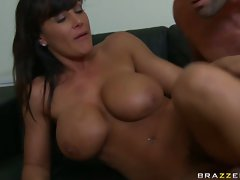 Lisa Ann gets sprayed in the neck with some hot creamy jizz