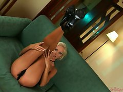 Fair-haired hottie Veronika Simon loves getting horny in her naughty nightie