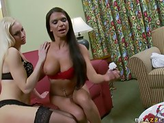 Big titted Lux Kassidy and gal pal have hot lesbian fun
