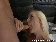 Blonde Kacey Villainess takes a big meaty hard cock into her eager mouth