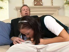 Schoolgirl Deena Daniels fills her hot mouth with a big dick