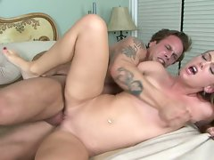 Red haired petite small boobed Dani Jensen has cum sprayed on her mouth