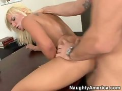 After a hard drilling in her office, Veronika Racquel gets a mouthful of cum