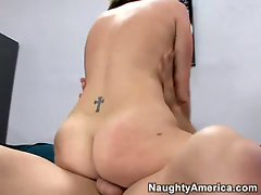 Bubble butt brunette Valerie Luxe gets rammed by a thick cock