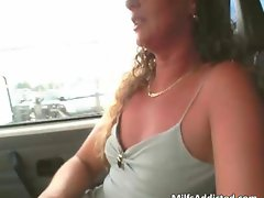 Car blowjob with hot and horny MILF