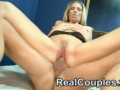 A leggy blonde mature MILF fucked hard by her husband