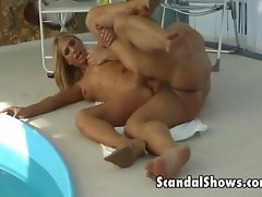 Lovely blonde gets fucked by the pool
