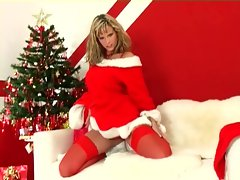 Blonde does a christmas strip tease in lingerie