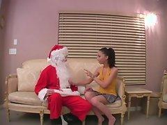 Veronica Jett gives Santa his Christmas present