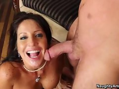 Tara Holiday gets her face showered with warm jizz