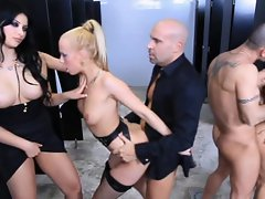 Group anal fucking with Carla Cox and Anna Polina