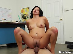 Danica Dillan bounces her hot pussy on this stiff prick