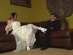 Chunky bride is fucked by two horny dudes