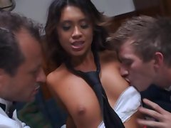 Threesome fucking with hot schoolgirl Hannah Shaw