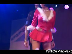 Mrs. Claus stripper gives a lap dance