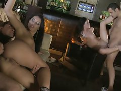 Euro trash Honey Damon and brunette friend take on 2 guys with swapping