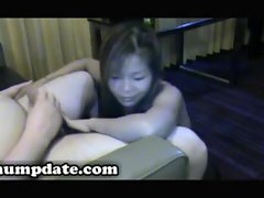 Asian wife gives blowjob and gets facialized