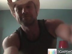 Muscled cowboy busting his nuts part5