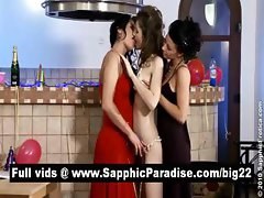 Sensual lesbians kissing and getting naked and getting naked and having three way lesbian orgy