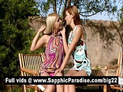 Sensual redhead and blonde lesbians kissing and having lesbian love