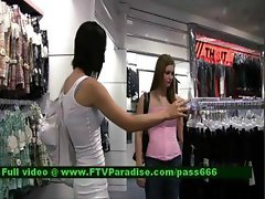 Jamee teen brunette girl in a clothes shop