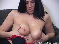 Jerk off teacher puts her gigantic tits on display for teasing