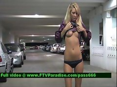 Brynn lovely blonde girl walking through a car park