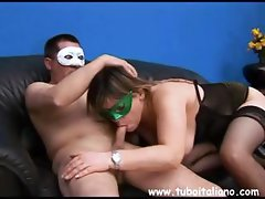 Italian couple wear masks and film their escapades of blowing and fucking