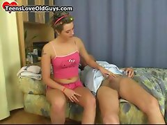 Cute teen girl shaving this grandpa part1