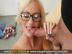 Young skinny blonde chick wearing glasses gets a good fucking from her dirty teacher