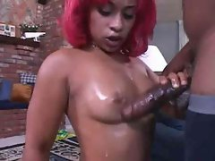 Pinky oiled up and fucking a fat cock