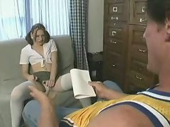 Tight schoolgirl Anika fucked hard and first facial cumshot