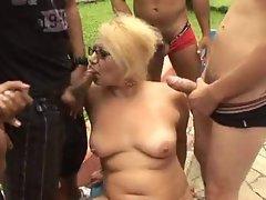 Mature granny blonde Victoria gangbang outdoor sex