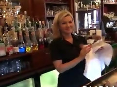 Hot amateur bartender fucked right there in the bar