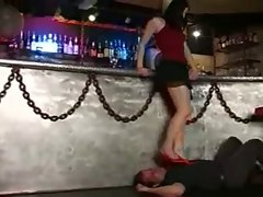 Foot worship in a bar