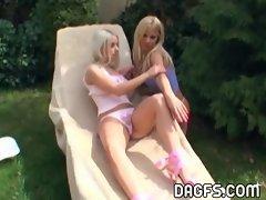 Lesbian teens outdoor sex