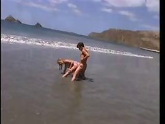 Sally Layd On The Beach in retro movie
