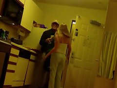 Blonde Girlfriend Posing And Flashing With Pizza Boy