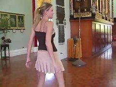 Carli,superb blonde girl visits temple!!