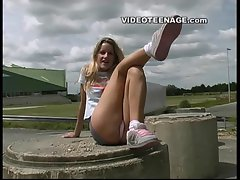 blond teen upskirt with no panties