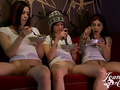 Joanna Angel behind the scenes eating lunch naked
