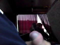 Public masturbation jerking dickflash in bus