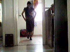 Indian Crossdresser in Saree Catwalk
