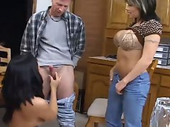 2 smoking hot housewives seduce and blow a handyman