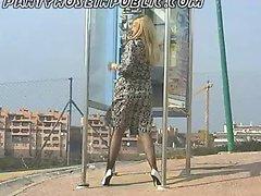 Slut Housewife Natasha In Stockings Flashes On Street Corner