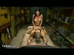 Huge dick and breasts tranny fucks bdsm guy in bed