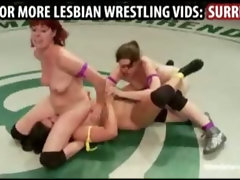 Naked girls tag team wrestling