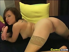 Horny Girl Grinds and Rides Her Dildo