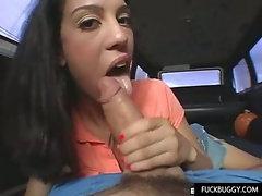 College slut gets in a van with stranger